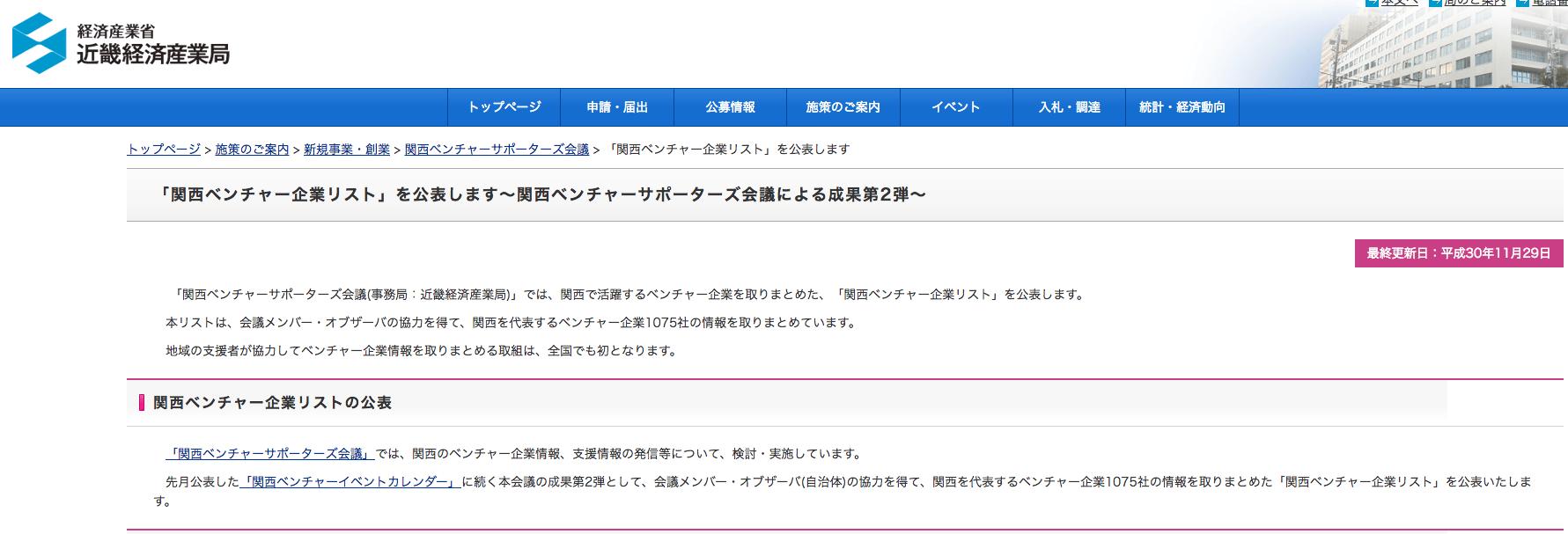 「関西ベンチャー企業リスト」に当社が掲載いただきました