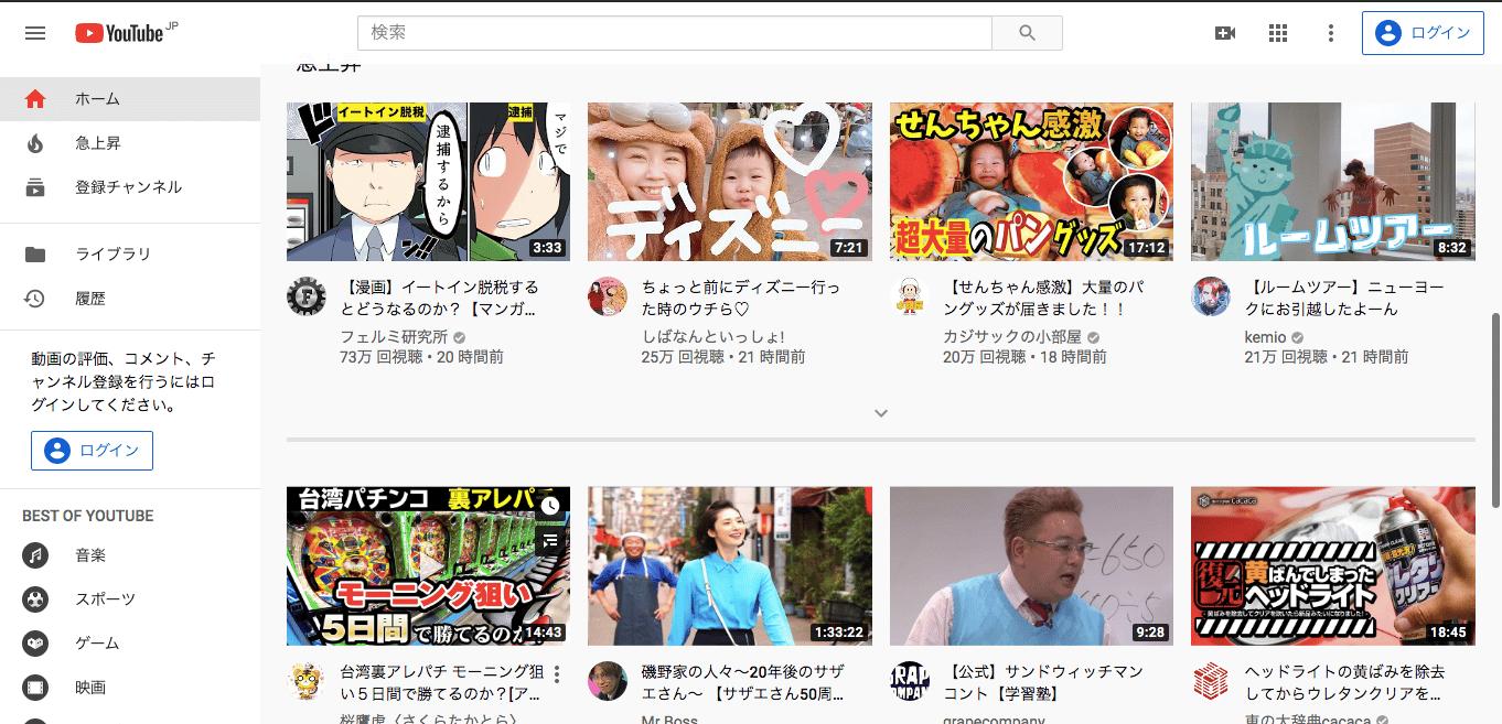 オススメの動画クラウド2:YouTube