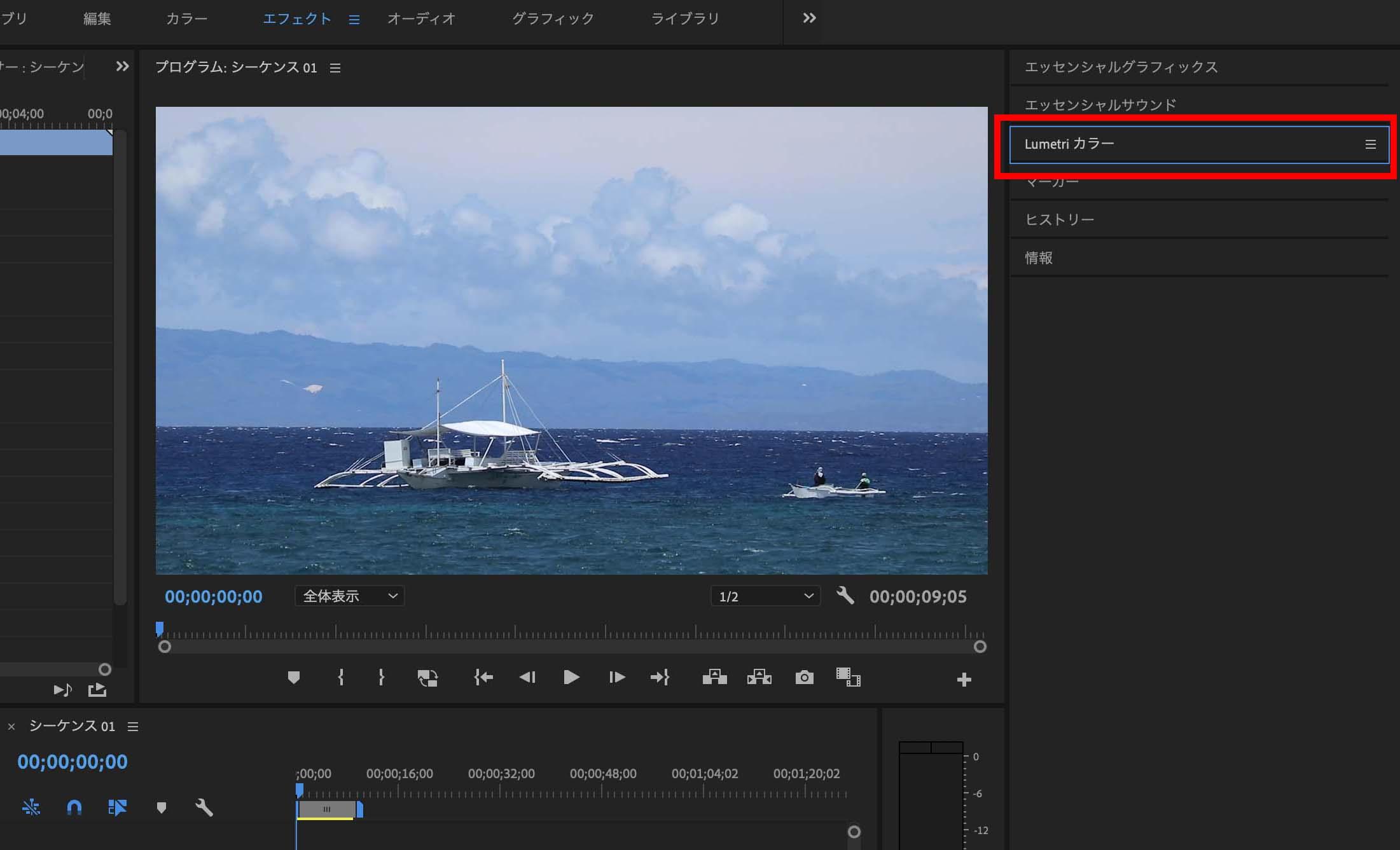 プレミアプロの編集機能3:動画の見栄えを調整する